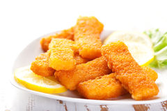 Fish fingers with lemon. Plate of fish fingers with lemon and salad Stock Photo