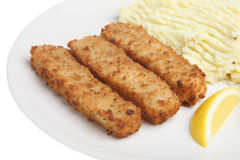 Fish Fingers and Mash Stock Photo