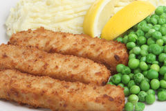 Fish Fingers, Mashed Potato & Peas Stock Photo