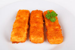 Fish fingers. On a plate Royalty Free Stock Photo