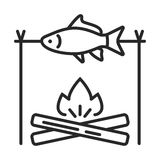 The fish on the fire  icon. In simple outline style. This icon are perfect for your websites and applications Royalty Free Stock Photography