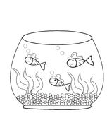 Fish in a fish bowl coloring page. Useful as coloring book for kids Stock Image