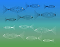 Fish Fish Everywhere. Fish shapes made of thin line on ocean backdrop Royalty Free Stock Photography