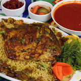 Fish and fish Kabsa. Fish Kabsa - mixed rice dishes that originates in Yemen. Middle eastern food stock images