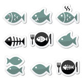 Fish, fish on plate, skeleton  icons Royalty Free Stock Photo
