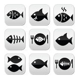 Fish, fish on plate, skeleton vecotor buttons. Vector buttons set on fish isolated on white Royalty Free Stock Photo