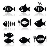 Fish, fish on plate, skeleton vecotor icons. Vector icons set on fish isolated on white Royalty Free Stock Image