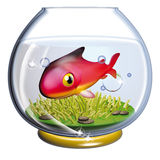Fish in the fishbowl. 3d rendering illustration, red fish in the fishbowl Stock Photo