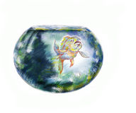 Fish And Fishbowl. Exotic fish in a round fishbowl, hand drawn illustration over white Stock Photo
