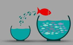 Fish in fishbowl jumps to his friends stock illustration