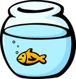 Fish in a fishbowl vector illustration. Vector illustration of a fish in a fishbowl Royalty Free Stock Images