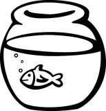 Fish in fishbowl vector illustration. Vector illustration of a fish in a fishbowl Stock Photo
