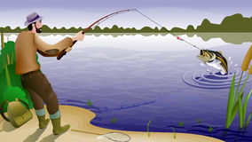 Fish and fisherman. Fisherman caught a big fish, background (16x9 Royalty Free Stock Photo