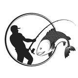 Fish and fisherman with a fishing rod. Silhouette Royalty Free Stock Images