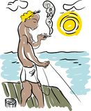 Fish and fisherman. The fisherman is fishing Royalty Free Stock Photography