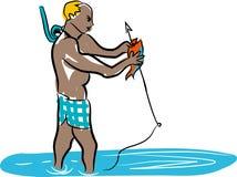 Fish and fisherman. The fisherman is fishing Stock Image