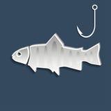 Fish and fishhook. Vector illustration. Fish and fishhook symbols on dark blue background. Vector illustration Stock Image