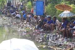Fish Fishing Contest. Residents crowded the fishing competition held in Solo, Central Java, Indonesia. A fishing competition which is routinely done to hone the Royalty Free Stock Photo