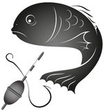 Fish and fishing gear. Design for the fishing business, silhouette Royalty Free Stock Photography