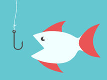 Fish and fishing hook. Fish with red fins and empty fishing hook without bait. EPS 8 vector illustration, no transparency Royalty Free Stock Photos