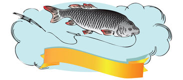 Fish with fishing line. Fish with a fishing line and rod. Vector illustration Royalty Free Stock Photography