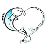 Fish and fishing rod with a reel. Fish and fishing rod in the form of heart Stock Images
