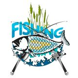 Fish and fishing rod symbol. Fish with reeds and two fishing rods symbol royalty free illustration