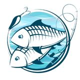 Fish and fishing rod symbol. For fishing Royalty Free Stock Photos