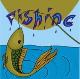 Fish in fishing time. Original fish in moment of catch Royalty Free Stock Image