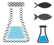 Fish Halftone Flask Collage. Fish flask halftone composition. Vector fish symbols are united into flask composition. Seafood design concept Stock Photography