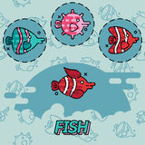 Fish flat concept icons. Vector illustration, EPS 10 Stock Photography