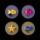 Fish flat design icons Royalty Free Stock Photos