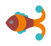 Fish flat icon vector isolated on white background. Fish vector image of funny cartoon smiling fish flat. Fish flat animal water life symbol. Fish flat cartoon Royalty Free Stock Images