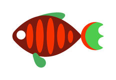 Fish flat icon vector isolated on white background. Vector image of funny cartoon smiling fish flat. Fish flat animal water life symbol. Fish flat cartoon Stock Images