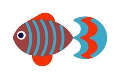Fish flat icon vector isolated on white background. Vector image of funny cartoon smiling fish flat. Fish flat animal water life symbol. Fish flat cartoon Royalty Free Stock Images