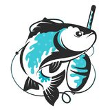 Fish and float vector. Fish and float symbol for fishing Royalty Free Stock Photos