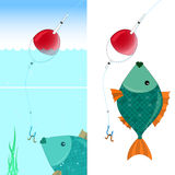 Fish and float - vector. Float and fish - an illustration of fishing Royalty Free Stock Images