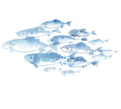 Fish flock isolated on white background. Watercolor hand drawn illustration Stock Images