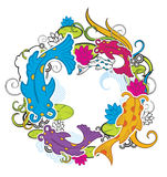 Fish and floral. Ornament fish and floral pattern design Royalty Free Stock Images