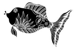 Fish with floral elements. Hand drawn vector fish with floral elements in black and white doodle style. Pattern for coloring book Stock Images
