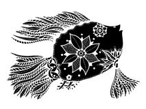 Fish with floral elements. Hand drawn vector fish with floral elements in black and white doodle style. Pattern for coloring book Royalty Free Stock Photography