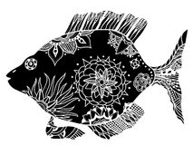 Fish with floral elements. Hand drawn vector fish with floral elements in black and white doodle style. Pattern for coloring book Stock Image