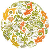 Fish and flower. Ornament fish and floral pattern design Stock Images