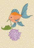 Fish and Flower. Orange fish and purple flower Royalty Free Stock Images