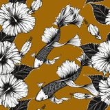 Fish and flower seamless pattern on vintage background. Butterfly and Hibiscus flower pattern by hand drawing.Tattoo art highly detailed in line art style.Fish Royalty Free Stock Images