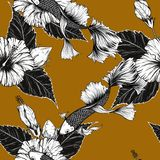 Fish and flower seamless pattern on vintage background. Butterfly and Hibiscus flower pattern by hand drawing.Tattoo art highly detailed in line art style.Fish Stock Photo