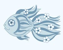 Fish with flowers. Cartoon illustration Stock Photography