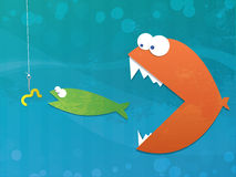 Fish Food Chain. Illustration of a fish eating a fish eating a worm on a hook. Business metaphor background Royalty Free Stock Photography