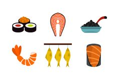 Fish food icon set, flat style. Fish food icon set. Flat set of fish food vector icons for web design isolated on white background Royalty Free Stock Photos