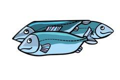 Fish food illustration. Sea and river animals. Comic cartoon style pop art retro vector color drawing Royalty Free Stock Photos